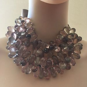 Stoning Acrylic Statement Necklace Adjustable